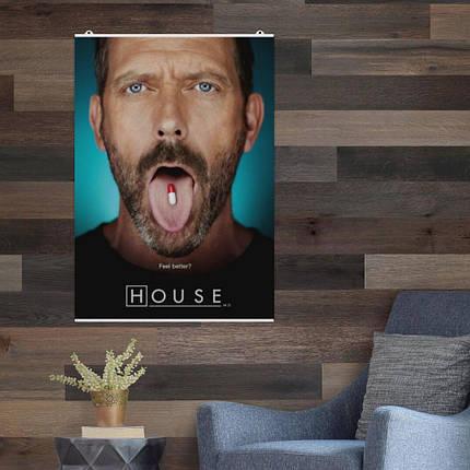 "Постер ""Доктор Хаус и таблетка на языке"". Размер 60x43см (A2). Глянцевая бумага, фото 2"