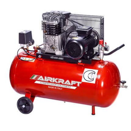 Компрессор поршневой с ременным приводом, Vрес=100л, 360л/мин, 220V, 2,2кВт AIRKRAFT AK100-360M-220-ITALY, фото 2