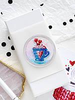 Набор для вышивки бисером магнита c акриловой рамкой  Чашечка в сердечко