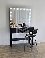 Гримерный столик Atlant с лампочками в зеркале на металлических ножка
