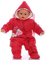 Зимний комбинезон для новорожденных Milka красный (размер 68)