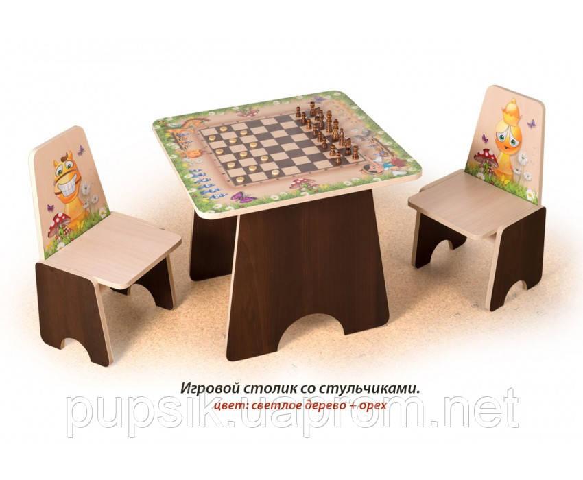 """Игровой столик """"Шахматы"""" Вальтер (цв. светлое дерево + орех)"""