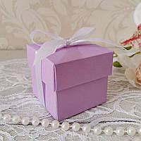 Бонбоньерка коробочка с крышечкой сиреневая
