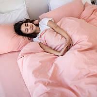 Однотонный комплект постельного белья Персиковый, поплин Lux, разные размеры