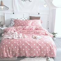 Постельное белье  Звезды на розовом, ранфорс Lux, разные размеры полуторный
