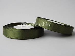 Стрічка атласна 1,2 см темно-зелена
