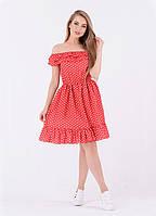 Летнее платье в горошек из ткани креп-шифон, размеры: S, M, L, цвета - пудра, красный