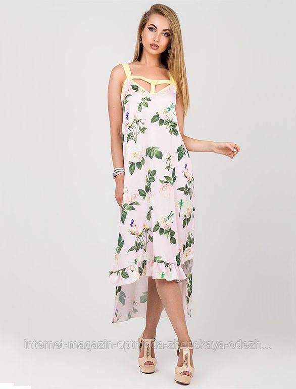 Шелковое летнее платье в пудровом цвете с красивым принтом, размеры: S, M, L