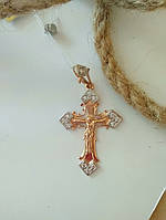Золотой крестик 585 пробы с вставками циркония