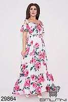 Платье летнее шёлковое в пол белое (размеры 48, 50)