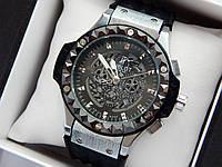 Кварцевые наручные часы Hublot (Хаблот) Big Bang Depeche Mode Steel серебристые с черным, фото 1