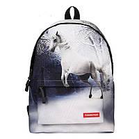 Рюкзак школьный Лошадь, городской с белой лошадкой, фото 1