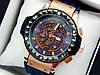 Кварцевий наручний годинник Hublot (Хаблот) Big Bang Depeche Mode Steel золоті з синім