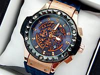 Кварцевий наручний годинник Hublot (Хаблот) Big Bang Depeche Mode Steel золоті з синім, фото 1