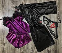 Женская домашняя одежда- набор халат и пижама.