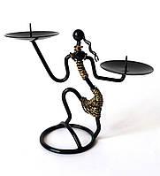 Подсвечник Африканка в стиле Техно-арт, на две свечи, металл чёрный с золотом