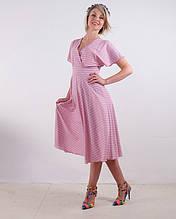 Платье-миди летнее на запах розовое в полоску размеры 40,42,44,46,48