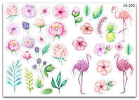 Stickers Pack Watercolor, Flamingo, Flowers #232
