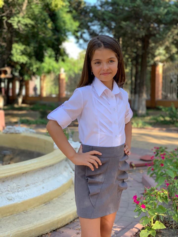 """Детская школьная юбка для девочки """"Алина"""" с воланами (3 цвета)"""
