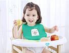 Детский слюнявчик нагрудник силиконовый с карманом (мишка зеленый), фото 4