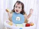 Детский слюнявчик нагрудник силиконовый с карманом (мишка желтый), фото 5