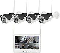 "Комплект видеонаблюдения беспроводной DVR KIT Full HD UKC CAD-1304 LCD 13.3"" WiFi 4ch набор на 4 камеры, фото 1"