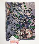 Палантин шерстяной 10755-13, павлопосадский шарф-палантин шерстяной (разреженная шерсть) с осыпкой, фото 5