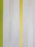 Обои виниловые на флизелине Marburg Chelsea 81976 на молочном фоне желтые зеленые серебристые полосы