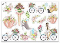 Stickers Pack Watercolor, Girls, Flowers #233