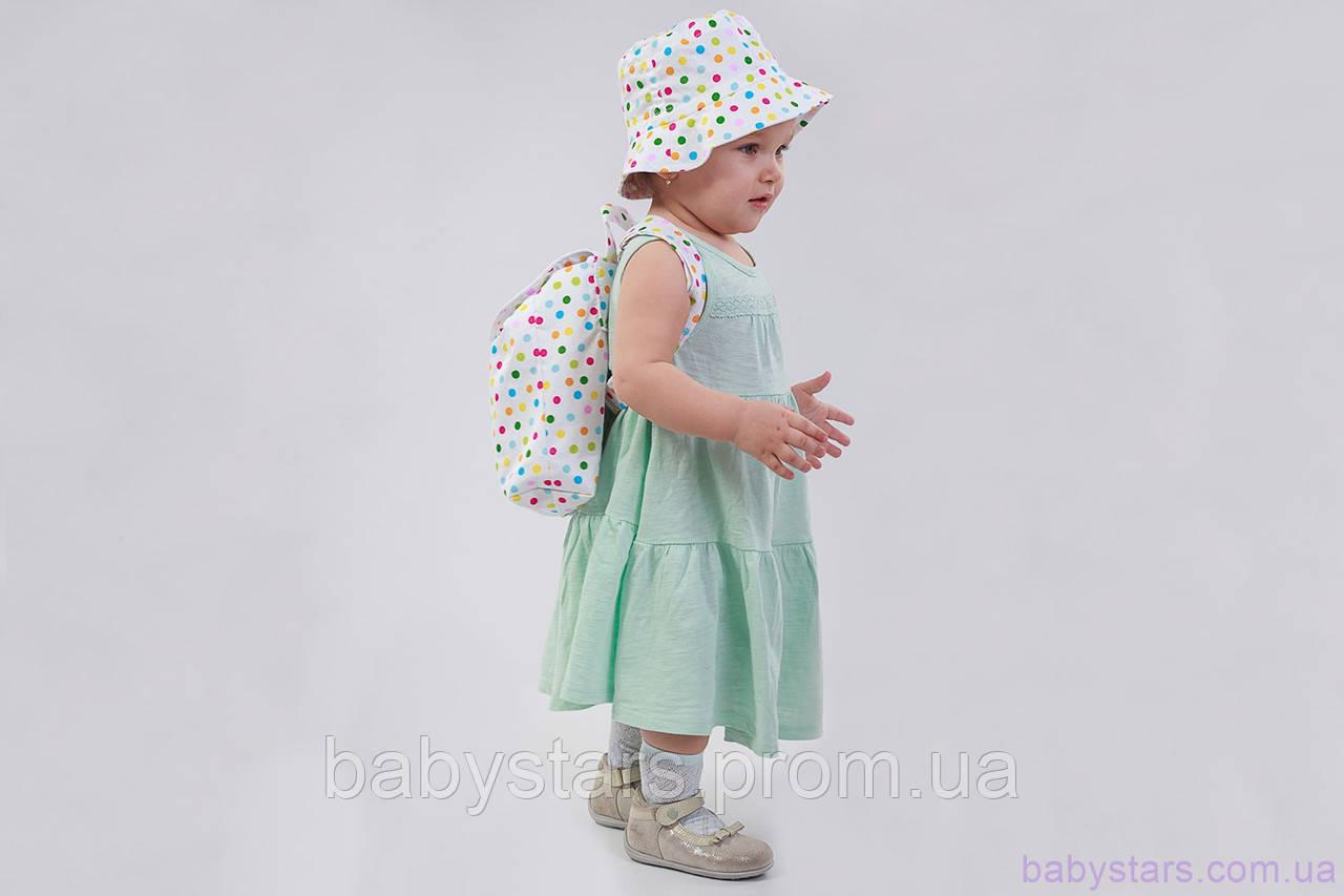 """Дитячий рюкзак в дитячий сад + панама, """"Горошок"""""""