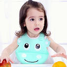 Детский слюнявчик нагрудник силиконовый с карманом (бегемот), фото 3