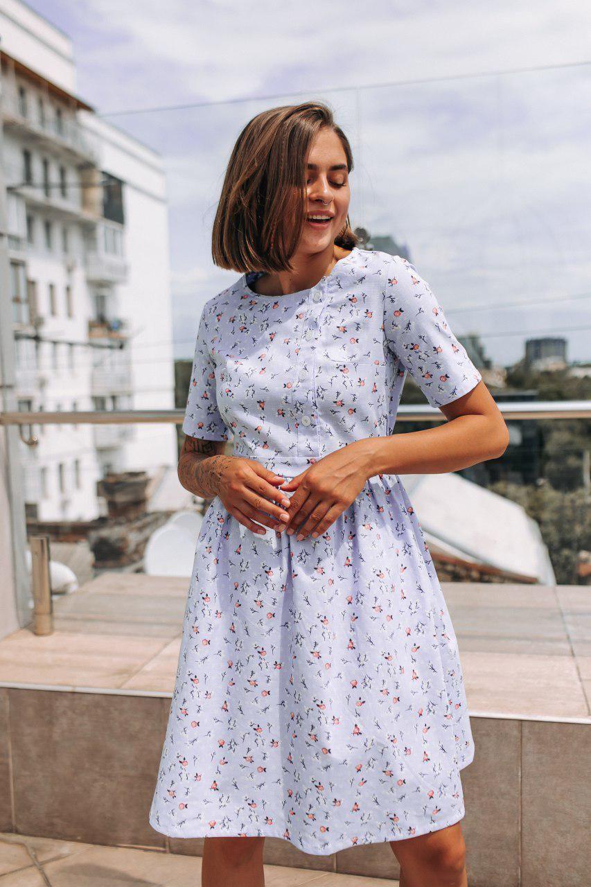 Платье мини со цветочным принтом