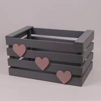 Ящик деревянный серый с сердечками
