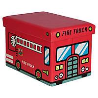 """Пуф короб складной, ящик для игрушек """"Пожарная машина"""""""