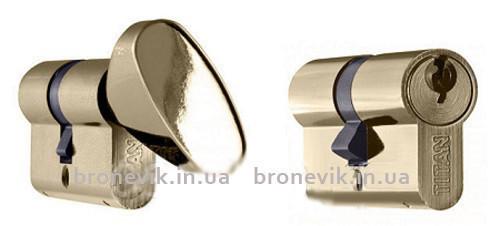 Цилиндр Titan K1 А 95 (45Cх50) никель ключ/поворотник