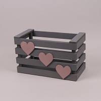 Ящик деревянный серый с сердечками 40 см.