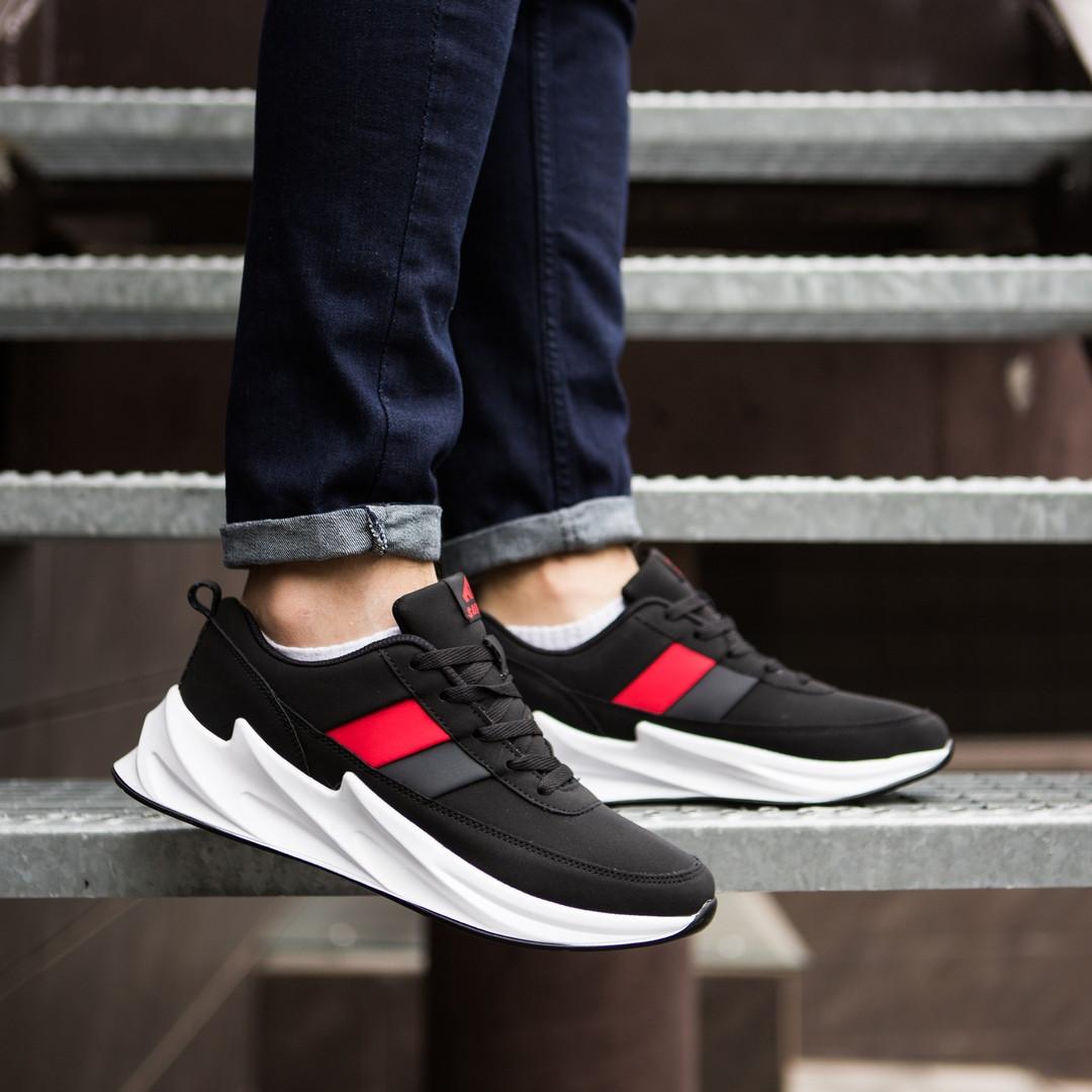 Спортивні кросівки чорні на білій підошві