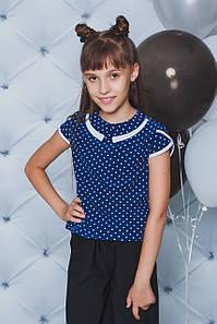 Блуза школьная горох синяя
