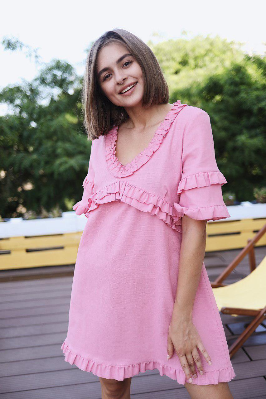 """Женское платье мини """"Одуванчик"""" - белое, розовое, оранж"""