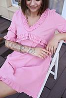 """Женское платье мини """"Одуванчик"""" - белое, розовое, оранж, фото 2"""
