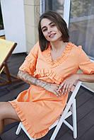 """Женское платье мини """"Одуванчик"""" - белое, розовое, оранж, фото 4"""