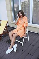 """Женское платье мини """"Одуванчик"""" - белое, розовое, оранж, фото 6"""