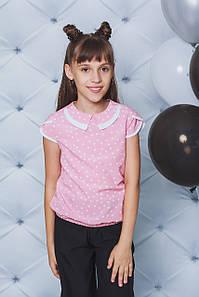 Блуза школьная горох персик