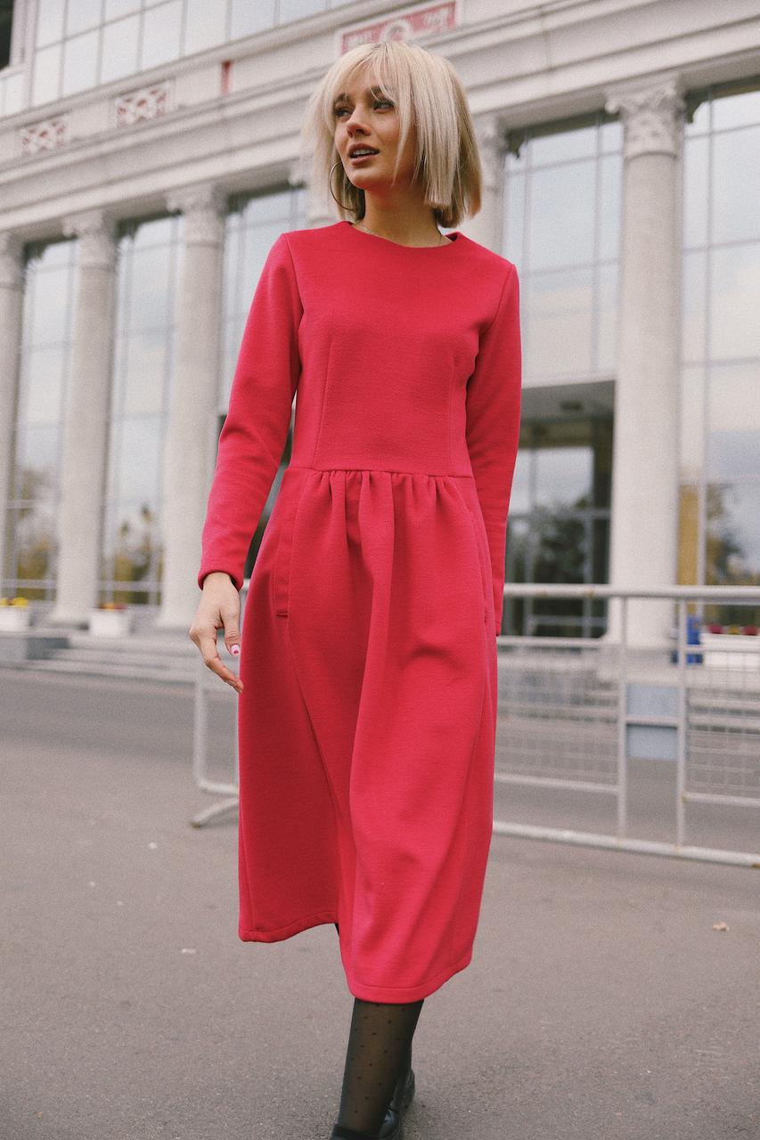 """Женское кашемировое платье """"Кенгуру"""" - красное"""