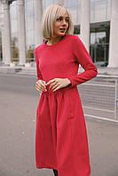 """Женское кашемировое платье """"Кенгуру"""" - красное, фото 4"""