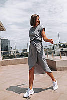 """Яркое женское платье в горошек """"Женева"""" - серое, розовое, фото 2"""