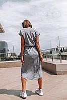 """Яркое женское платье в горошек """"Женева"""" - серое, розовое, фото 3"""