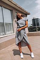 """Яркое женское платье в горошек """"Женева"""" - серое, розовое, фото 4"""