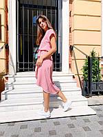 """Яркое женское платье в горошек """"Женева"""" - серое, розовое, фото 5"""