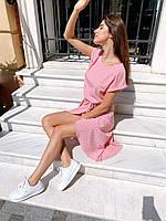"""Яркое женское платье в горошек """"Женева"""" - серое, розовое, фото 6"""